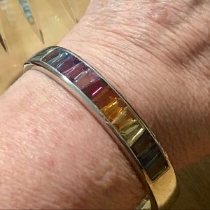 Sterling Silver Tapered Baguette Gemstone Cuff
